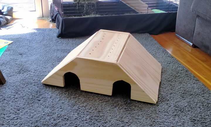 finished wooden diy guinea pig house with two rooms