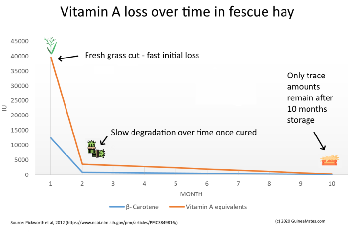 chart of vitamin a degradation over time in hay